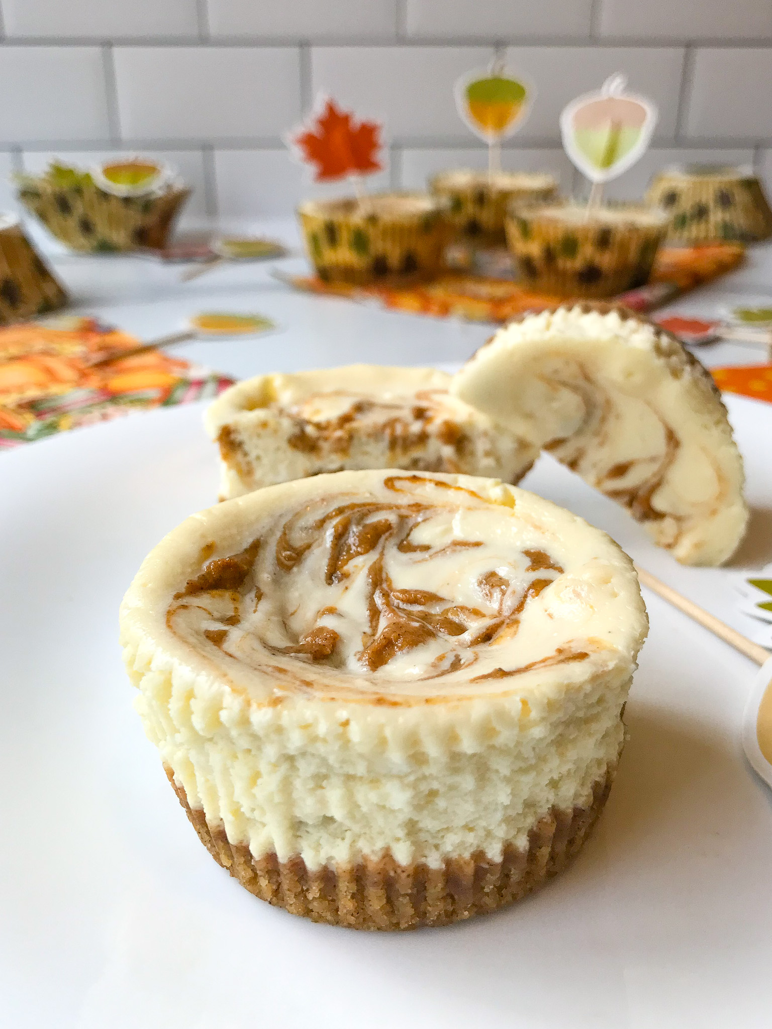 Pumpkin Swirl Mini Cheesecakes