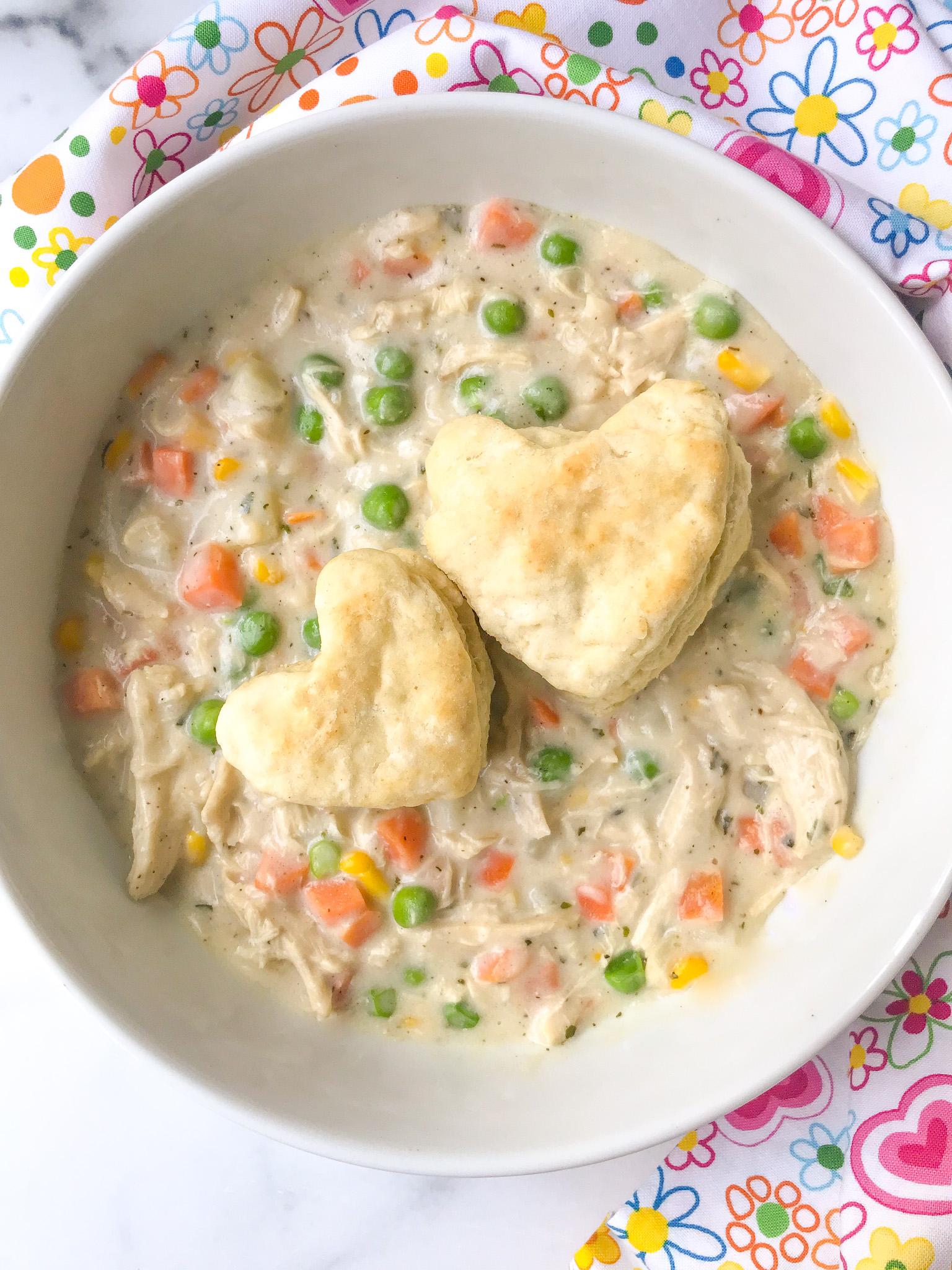 Skillet Chicken Pot Pie and Biscuits