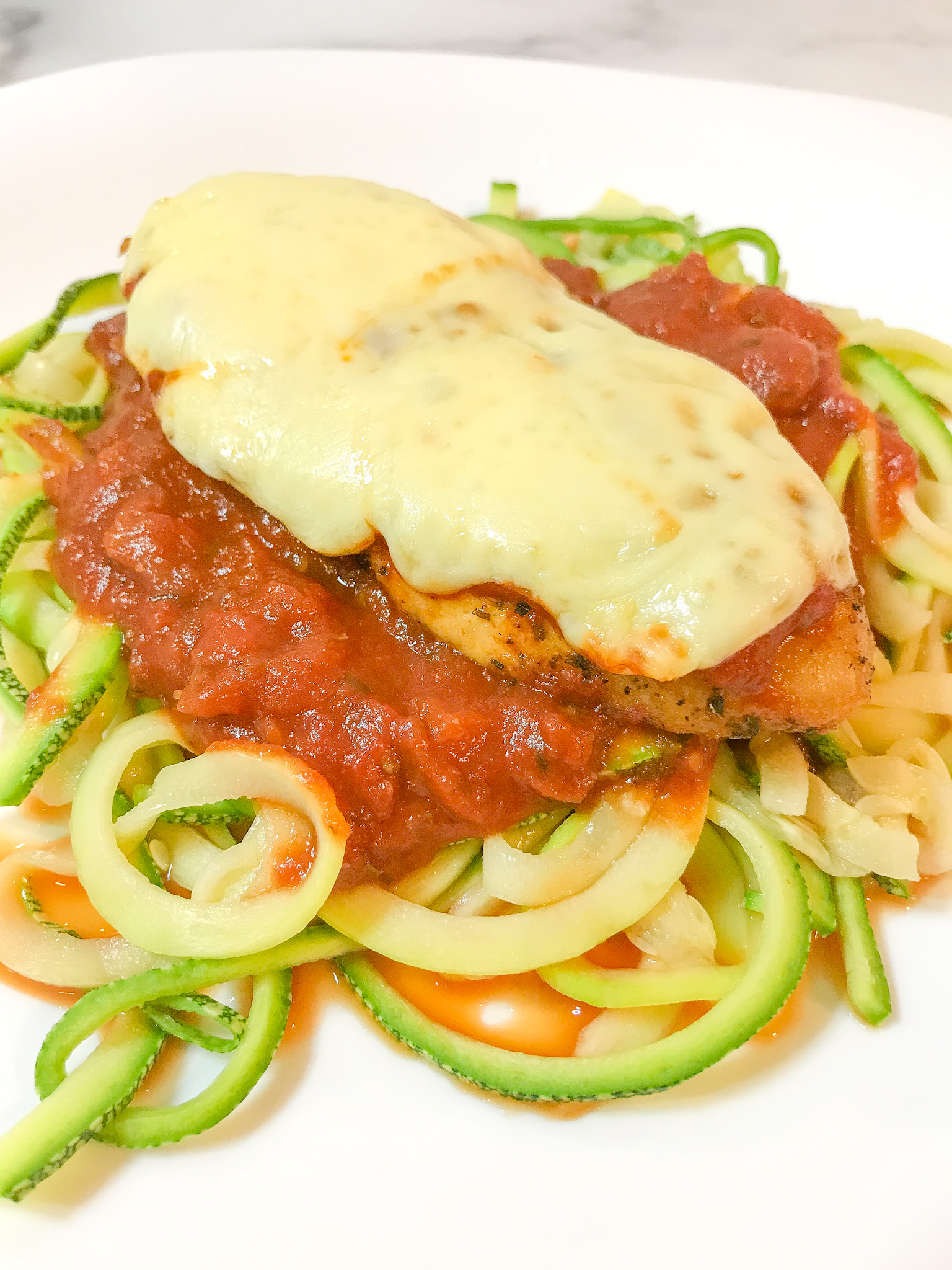 Air Fried Chicken Parm with Zoodles